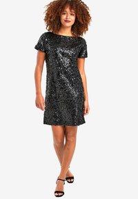 Next - NAVY SEQUIN T-SHIRT DRESS - Sukienka koktajlowa - black - 1