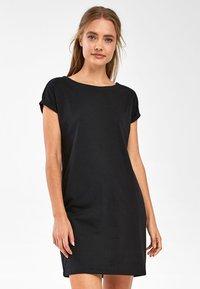 Next - BLACK JERSEY BOXY T-SHIRT DRESS - Day dress - black - 0