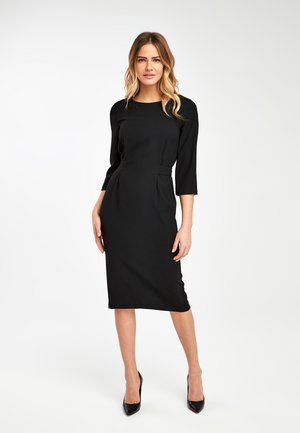 BLACK TIE BACK CREPE DRESS - Day dress - black