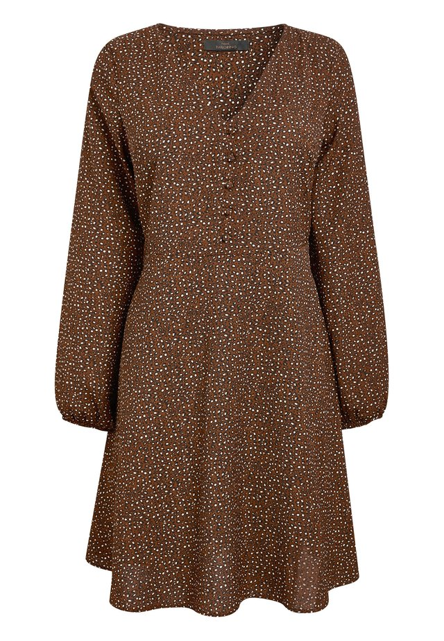 GINGER ANIMAL PRINT V-NECK LONG SLEEVE TEA DRESS - Sukienka letnia - brown