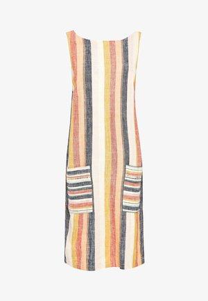 BLUE FLORAL LINEN BLEND SHIFT DRESS - Vestido informal - orange