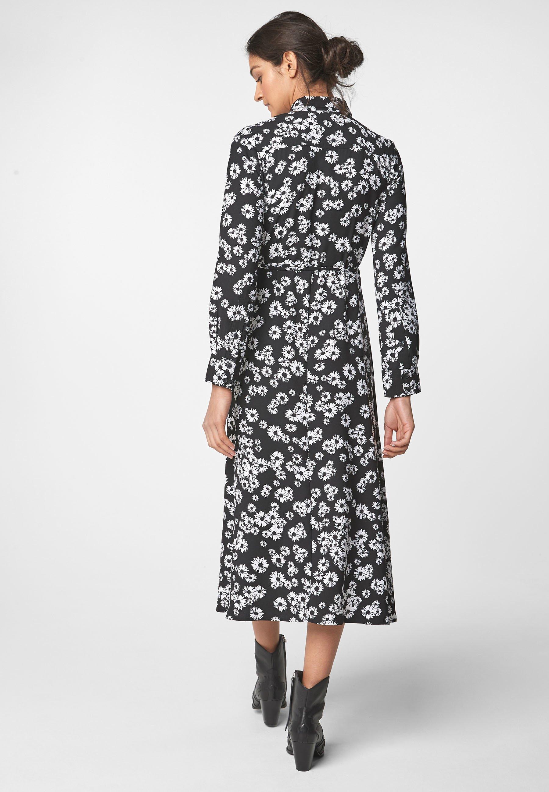 Next BLACK FLORAL PRINT MAXI UTILITY LONG SLEEVE SHIRT DRESS - Abito a camicia - black