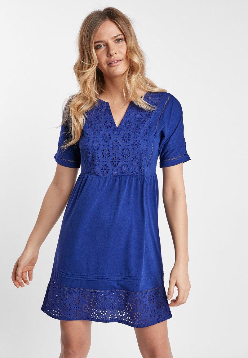 Next - NAVY BRODERIE DRESS - Jersey dress - blue