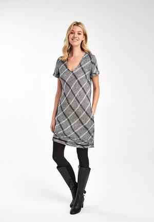 GREY CHECK LINEN BLEND T-SHIRT DRESS - Jersey dress - grey