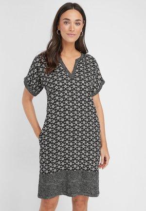 LINEN BLEND KAFTAN DRESS - Day dress - black