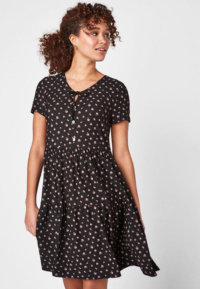 BLACK DITSY TIERED DRESS - Vestido informal - black