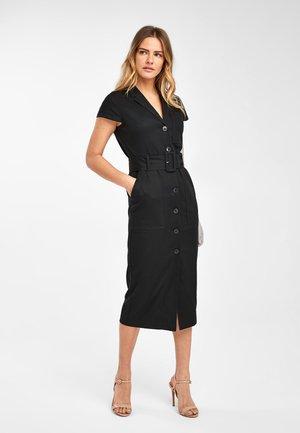 BLACK EMMA WILLIS TWILL BELTED DRESS - Shirt dress - black