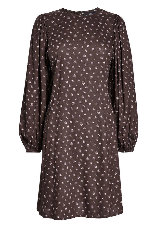 PURPLE FLORAL VOLUME SLEEVE DRESS - Vestido informal - brown