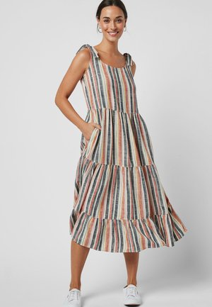MULTI TIE SHOULDER LINEN BLEND DRESS - Korte jurk - red