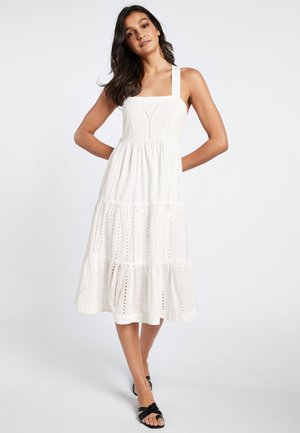 WHITE BRODERIE MIDI DRESS - Day dress - white
