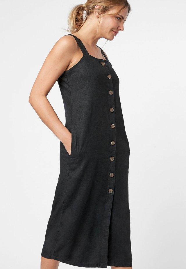 BLACK LINEN BLEND MIDI DRESS - Vestido informal - black
