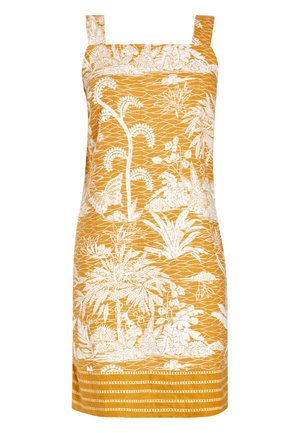 OCHRE PRINT LINEN BLEND SQUARE NECK DRESS - Korte jurk - yellow