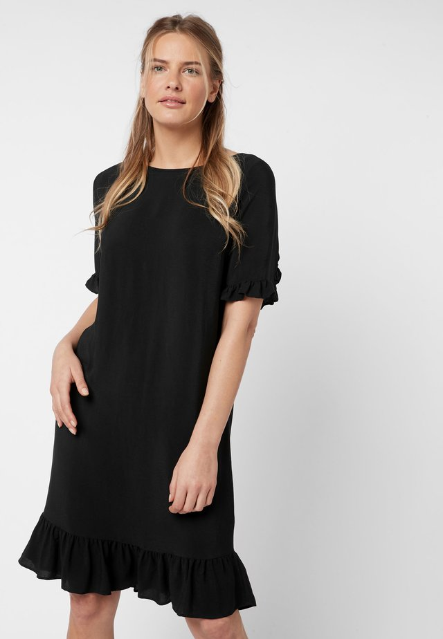 TIERED RUFFLE DRESS - Day dress - black