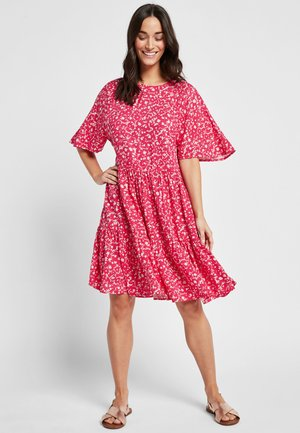 PINK FLORAL MINI TIERED DRESS - Day dress - pink