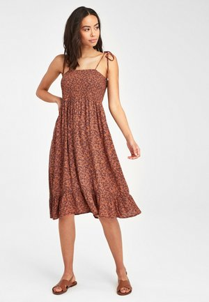 SMOCKED STRAPPY - Day dress - brown