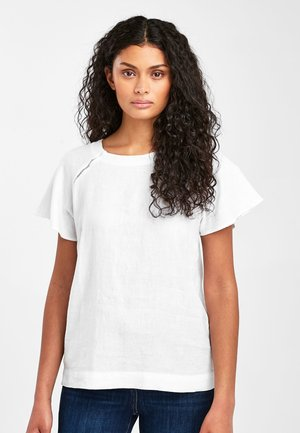 BLUE/WHITE STRIPE SHORT SLEEVE LINEN TOP - Blůza - white