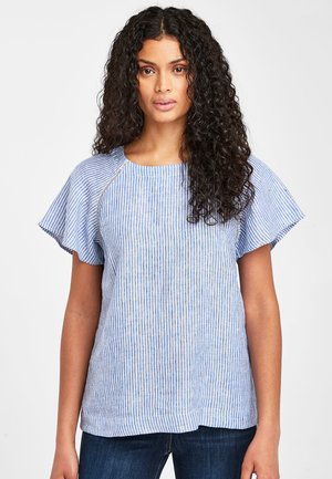 BLUE/WHITE STRIPE SHORT SLEEVE LINEN TOP - Bluse - blue