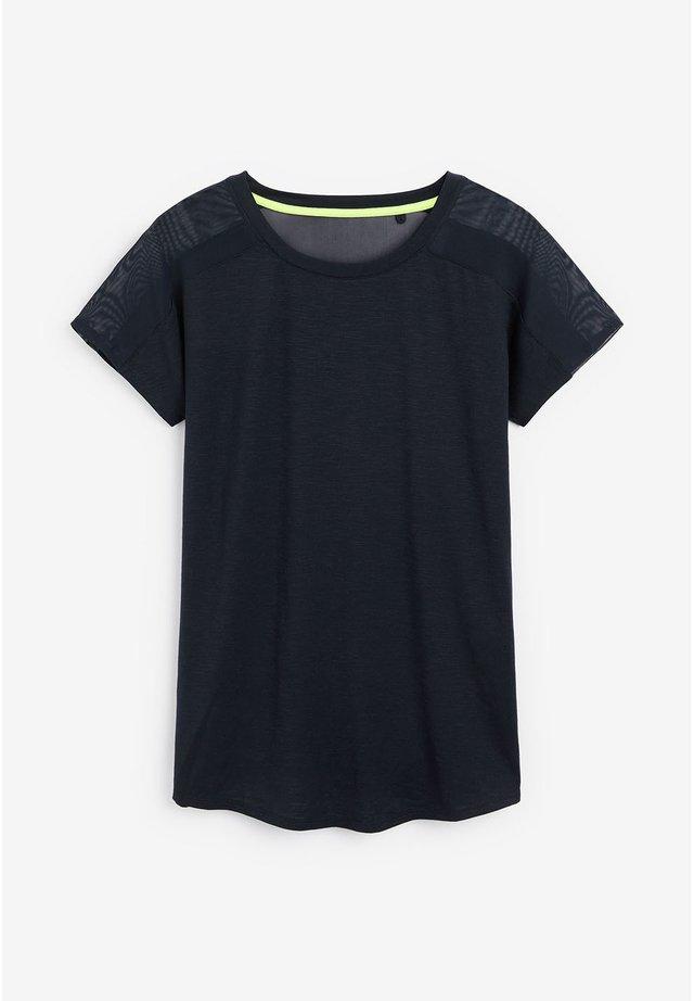 BLUE SHORT SLEEVE MESH PANEL T-SHIRT - Print T-shirt - blue
