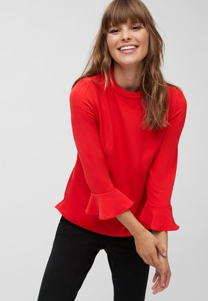 RED HIGH NECK FLUTE SLEEVE TOP - Bluse - red