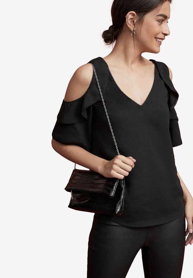 COLD SHOULDER RUFFLE - Blouse - black