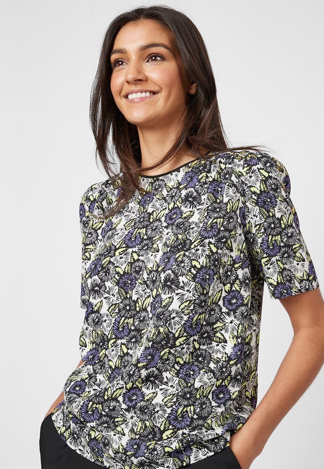PURPLE FLORAL RUCHED SHORT SLEEVE TOP - Bluzka - white
