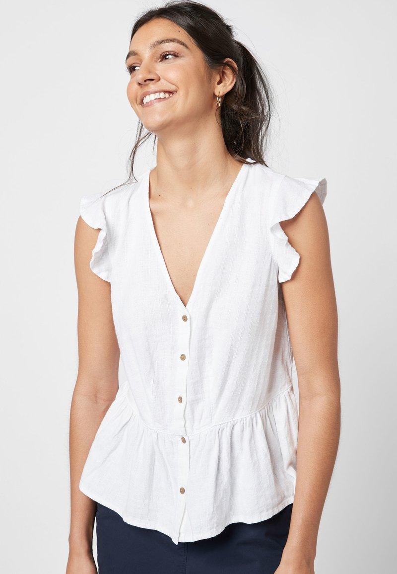 Next - WHITE LINEN BLEND RUFFLE SLEEVE BUTTON THROUGH TOP - Bluse - white