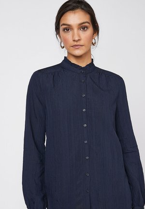 ECRU HIGH NECK SHIRT - Button-down blouse - blue