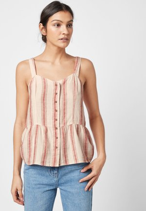 PINK STRIPE LINEN BLEND CAMI TOP - Bluse - pink