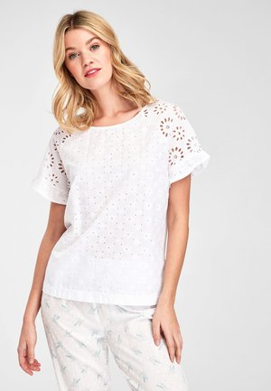 PINK BRODERIE COTTON T-SHIRT - Bluse - white