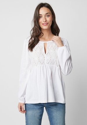 WHITE LONG SLEEVE BRODERIE TOP - Blouse - white