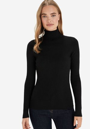 BLACK RIB ROLL NECK JUMPER - Sweter - black