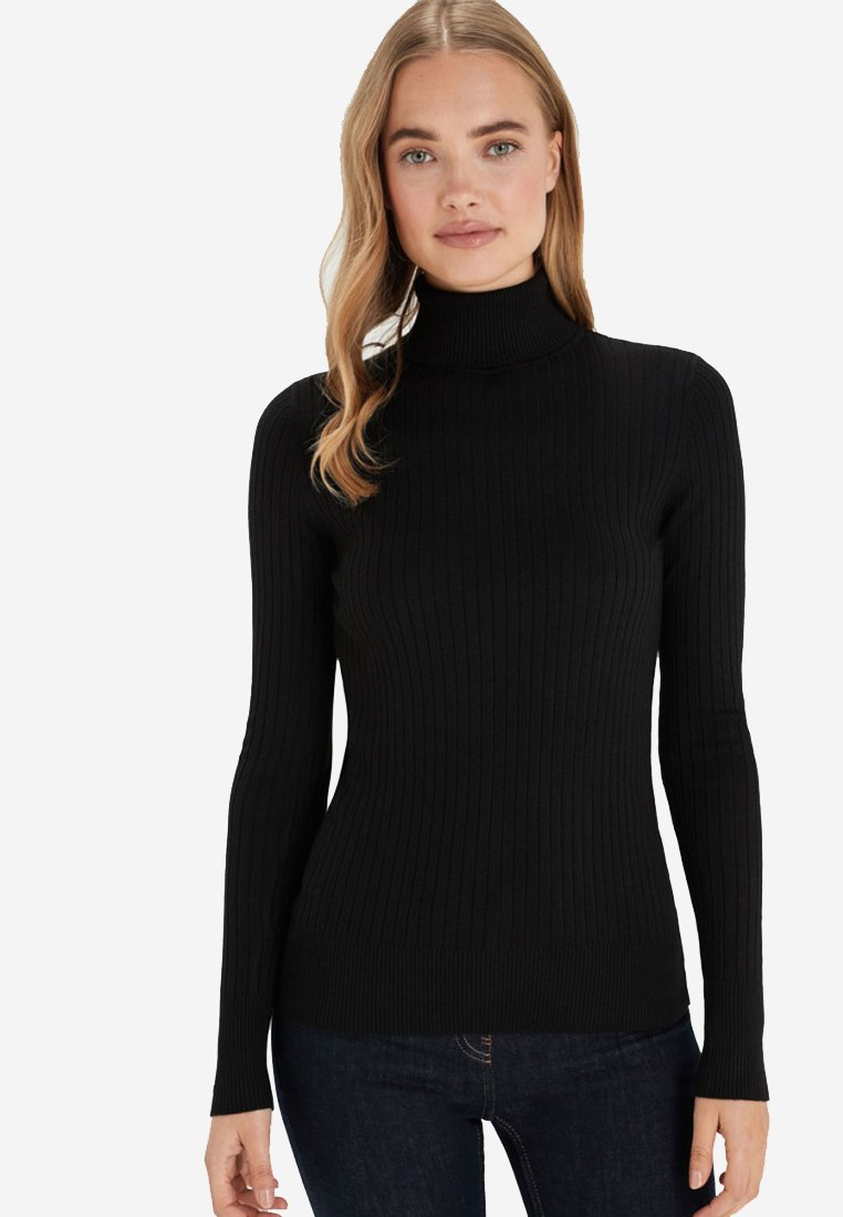 Next - BLACK RIB ROLL NECK JUMPER - Sweter - black