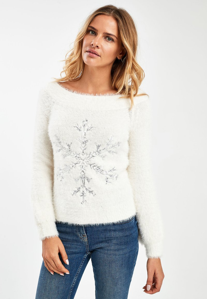 Next - WHITE SNOWFLAKE BARDOT CHRISTMAS JUMPER - Pullover - white