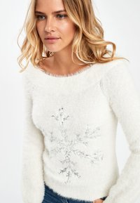 Next - WHITE SNOWFLAKE BARDOT CHRISTMAS JUMPER - Pullover - white - 2