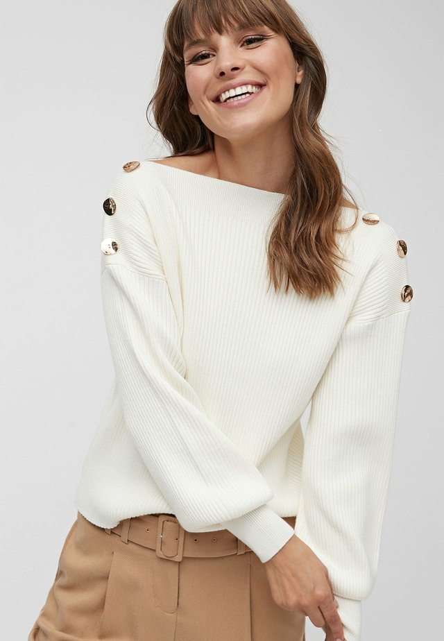 NAVY BUTTON DETAIL JUMPER - Jumper - off-white
