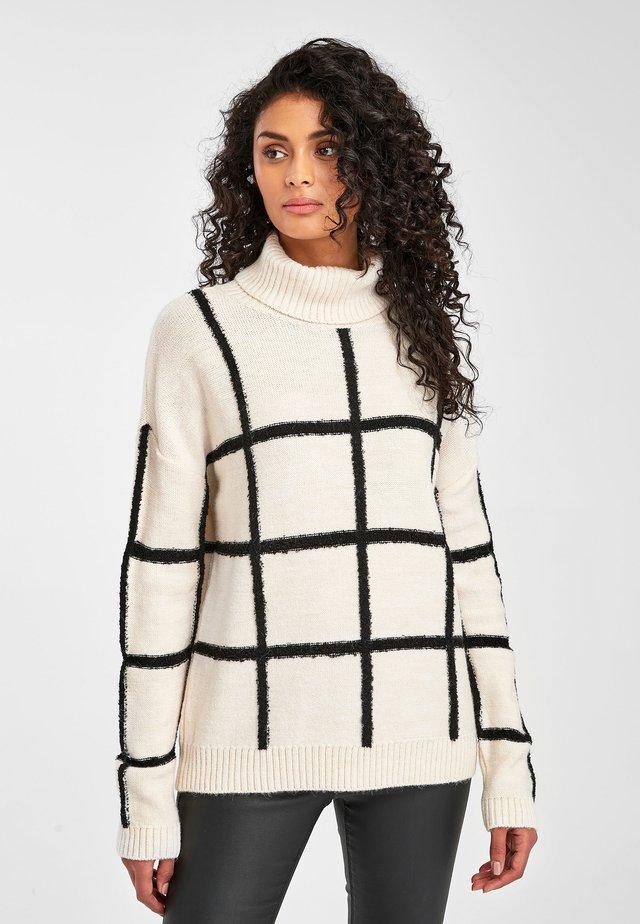 WHITE/BLACK CHECK ROLL NECK JUMPER - Jersey de punto - white