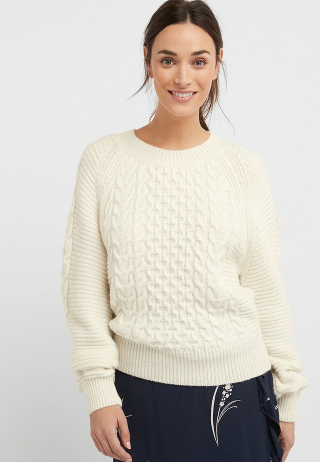 NAVY CABLE VOLUME SLEEVE JUMPER - Jersey de punto - white