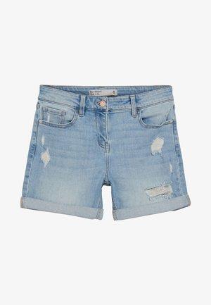 Denim shorts - mottled blue