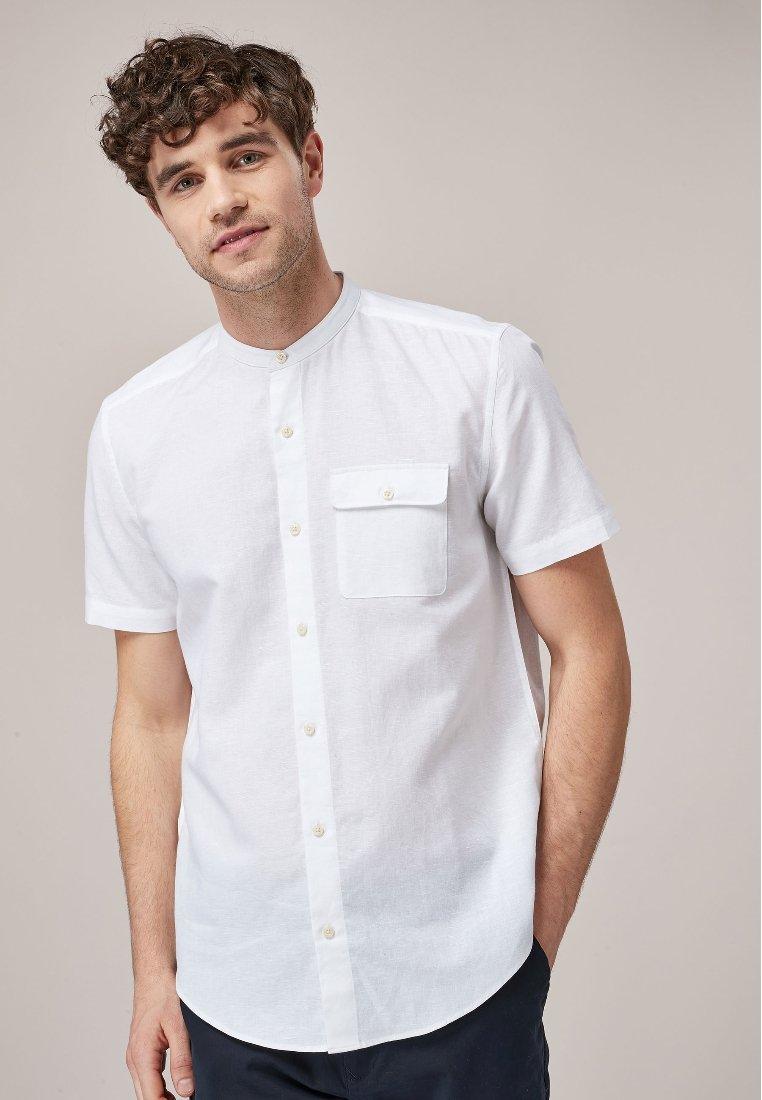 Next SHORT SLEEVE LINEN BLEND GRANDAD - Koszula - white