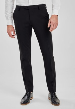 BLACK TAILORED FIT STRETCH PLAIN FRONT TROUSERS - Broek - black