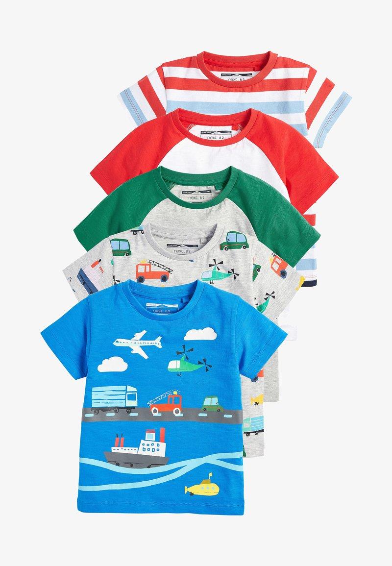 Next - MULTI 5 PACK TRANSPORT T-SHIRTS (3MTHS-7YRS) - T-shirt imprimé - blue