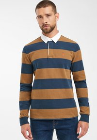 Next - TAN/NAVY STRIPE RUGBY SHIRT - Polo - brown - 0