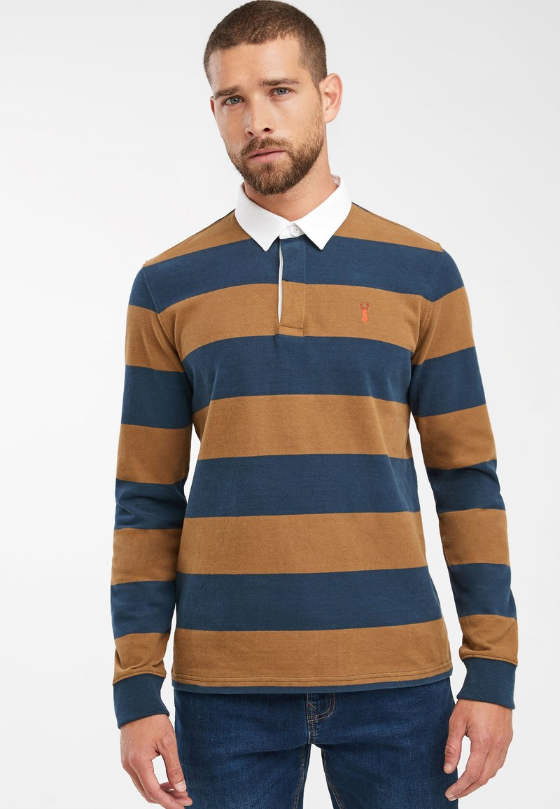 Next - TAN/NAVY STRIPE RUGBY SHIRT - Polo - brown