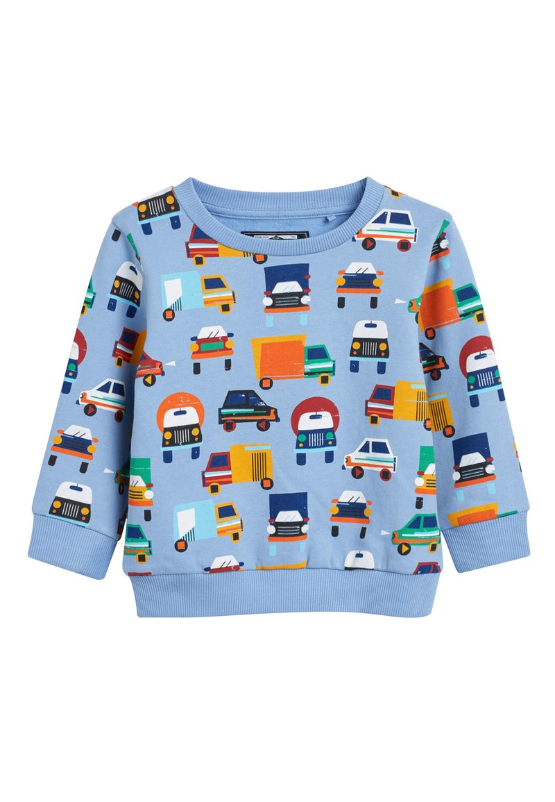 Next - BLUE CAR ALL OVER PRINT CREW TOP (3MTHS-7YRS) - Sweater - blue