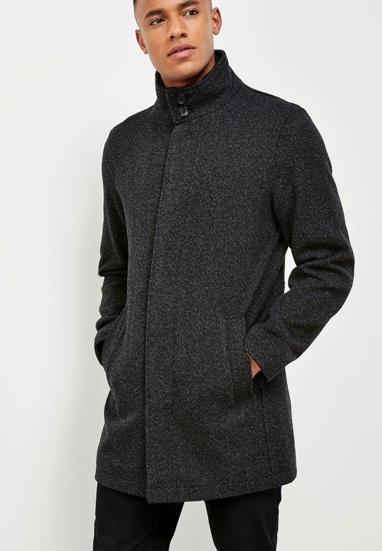 Next - FUNNEL NECK ZIP THROUGH COAT - Kurzmantel - black