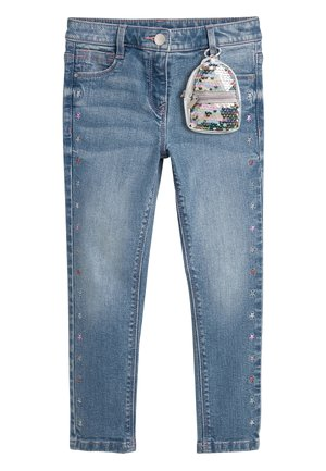 LIGHT BLUE EMBROIDERED STAR JEANS WITH SEQUIN BAG (3-16YRS) - Slim fit jeans - blue