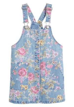 FLORAL DENIM PINAFORE (3-16YRS) - Korte jurk - blue