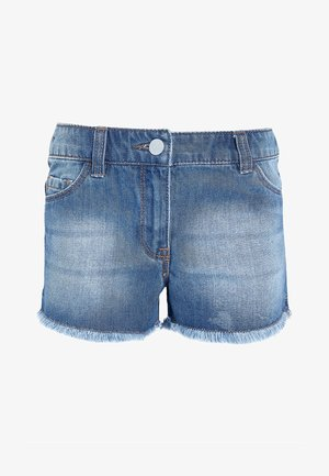DENIM FRAYED HEM - Denim shorts - blue