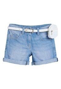 Next - DENIM MID BLUE SHORTS WITH GLITTER PURSE BELT (3-16YRS) - Denim shorts - blue - 0
