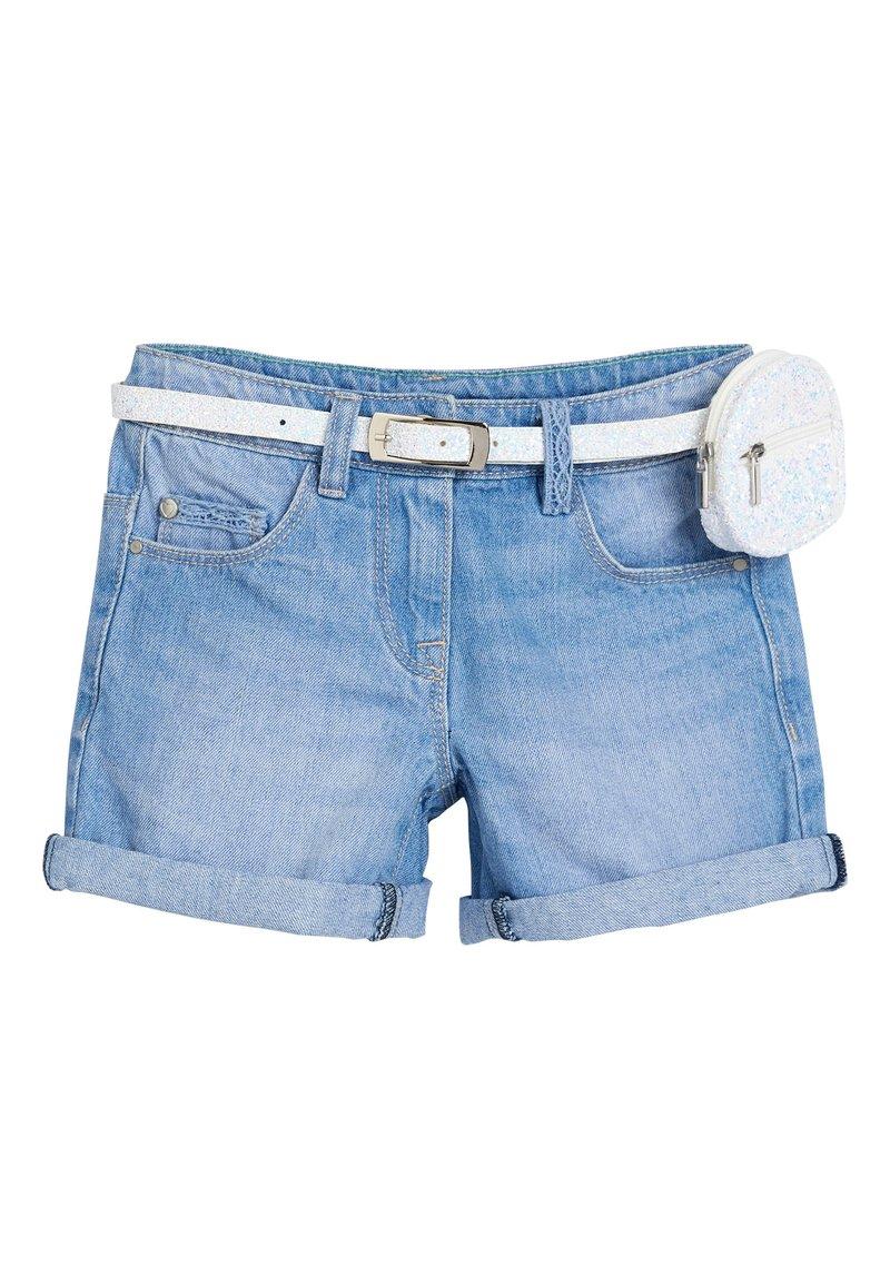 Next - DENIM MID BLUE SHORTS WITH GLITTER PURSE BELT (3-16YRS) - Denim shorts - blue